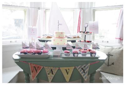 adorable nautical girl baby shower pink & navy blue