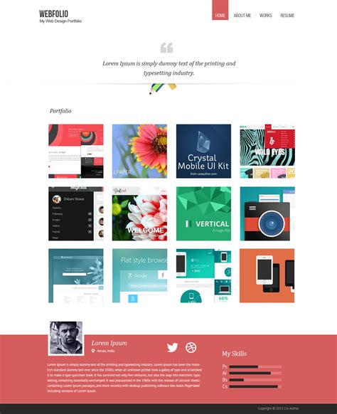minimal portfolio template psd with mobile version