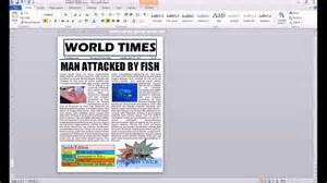 How To Make A News Paper Article - word 2010 newspaper project autoshape