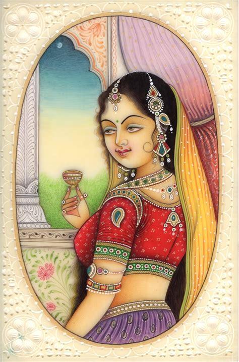 Handmade Portraits - indian miniature painting princess handmade