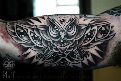 skeleton man tattoo all seeing owl by skeleton tattoos