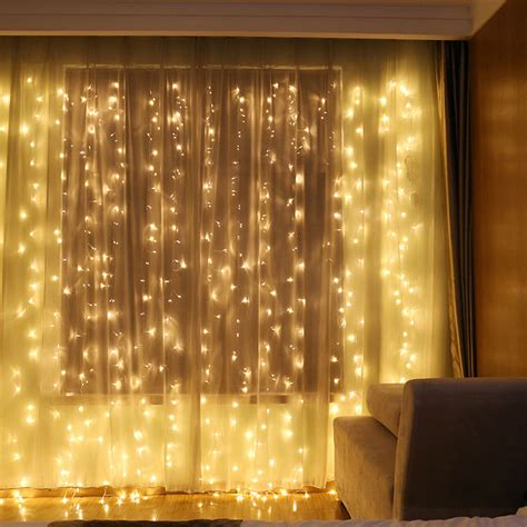 led curtain lights uk 6x3m 600 led warm white light curtain string fairy lights