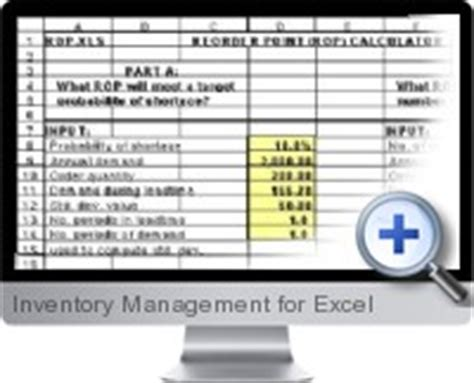Excel Inventory Management Inventory Reorder Point Excel Template