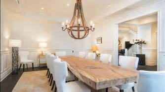 contemporary dining room with natural wood table just