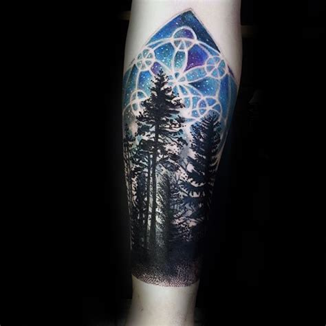 night time tattoo sacred geometry sky forest tattoos tatuajes
