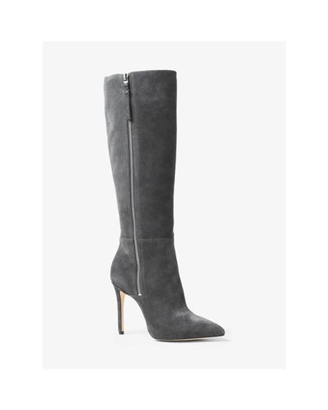 michael kors dawson suede knee high boots in gray lyst