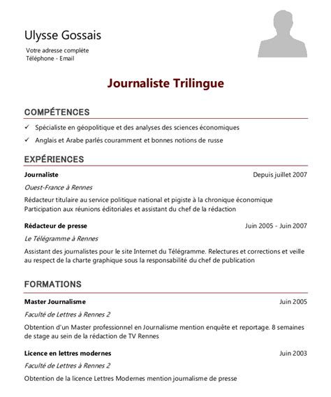 Comment Ecrire Un Cv by Exemple De Cv Journaliste