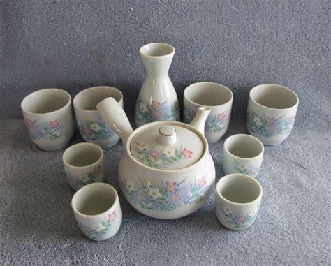 Japanesse Tea Set Pink Flower 10 pc ceramic japanese sake tea set with pink