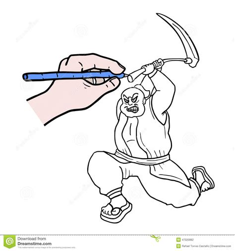 doodle how to make warrior draw warrior stock vector image 47020882