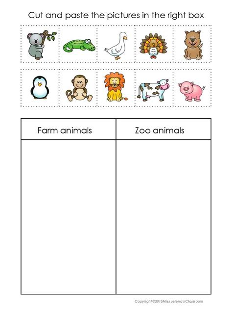 printable animal pictures for sorting sorting worksheets kindergarten printable kindergarten
