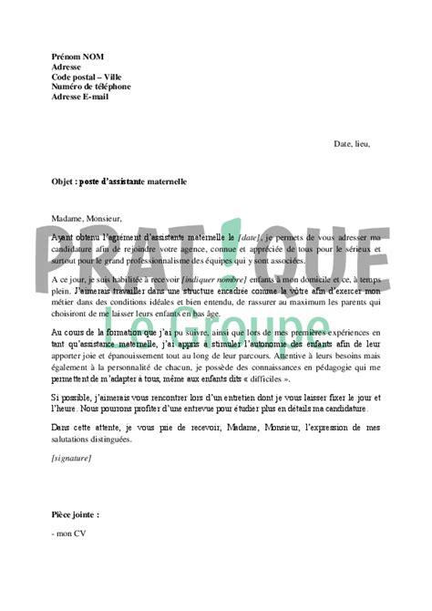 Lettre De Motivation De Nounou A Domicile Lettre De Motivation Pour Un Poste D Assistante Maternelle Pratique Fr