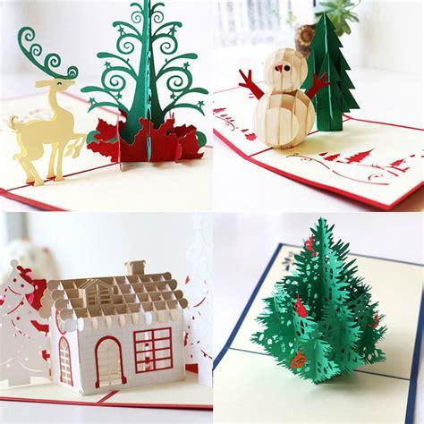 merry christmas tree vintage  laser cut pop  paper handmade custom greeting cards christmas