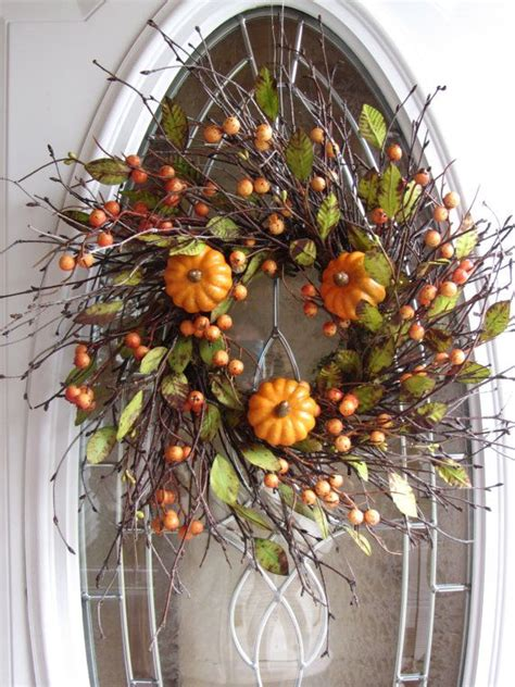 Fall Front Door Wreaths Pumpkin Wreath Fall Wreath Autumn Wreath Front Door Wreath