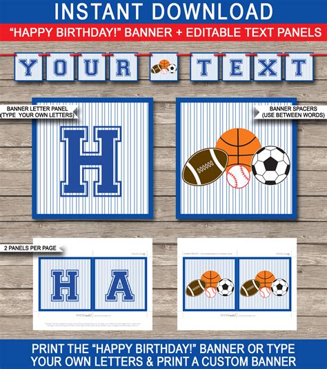 All Star Sports Party Banner Template Birthday Banner Editable Bunting Sports Banner Templates