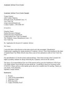 student advisor cover letter academic advisor cover letter sles academic advisor