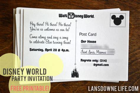 free printable disney postcards free printable disney world postcard party invitation