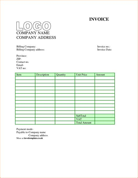 Free Download Invoice Format Hardhost Info Formal Invoice Template