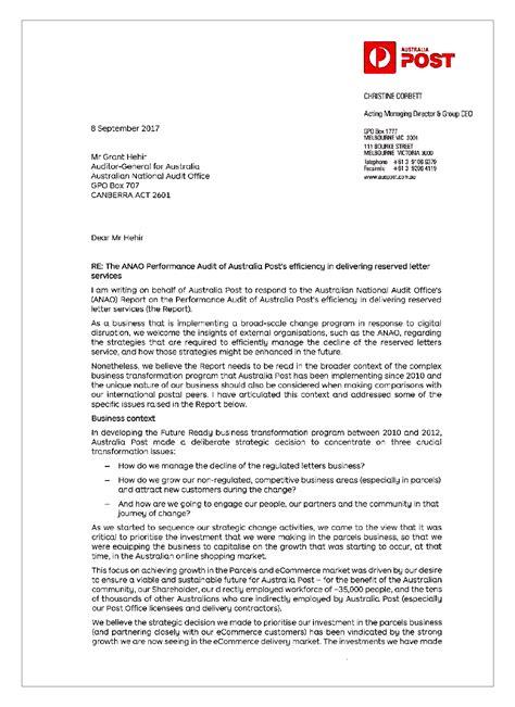 australia post s efficiency of delivering reserved letter