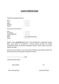 surat pernyataan izin orang tua wali suami