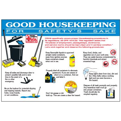 good housekeeping workplace safety wallchart, safety signs