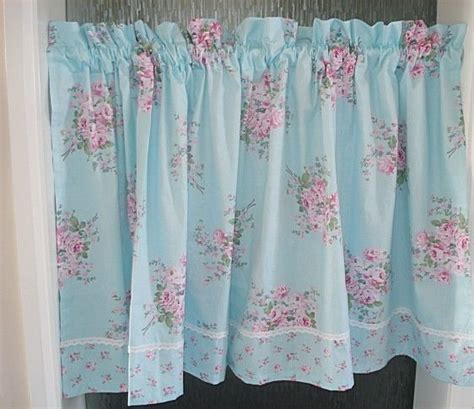 Shabby French Country Rose Floral Blue Chic Cafe Kitchen Shabby Chic Kitchen Curtains