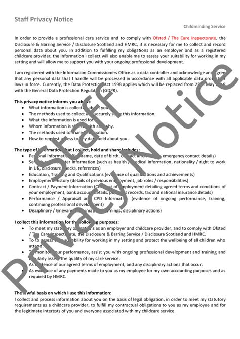Childminder Assistant Employment Pack Mindingkids Gdpr Employee Privacy Notice Template