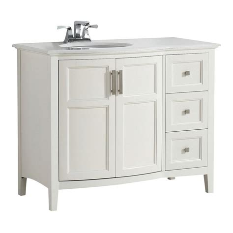 42 Vanity Top by Simpli Home Winston Rounded Front 42 In W Vanity In Soft White With Quartz Marble Vanity Top In