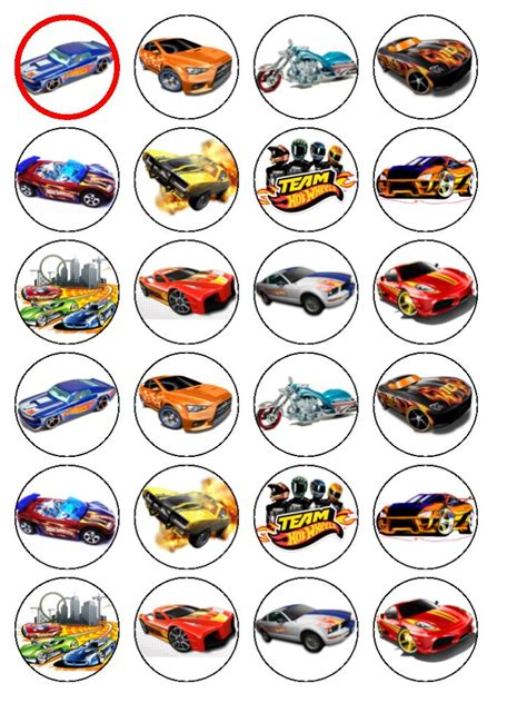 24 wheels cars edible wafer paper cup cake toppers