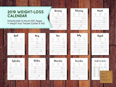 weight loss calendar weight loss tracker monthly