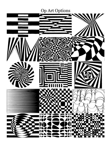 printable optical illusions worksheet free op art sheets coloring pages