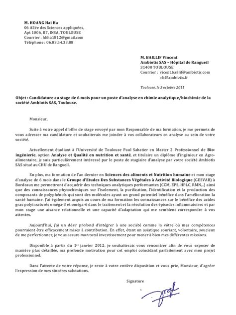 Lettre De Motivation De Biologie Lettre De Motivation Stage Laboratoire Biologie Document