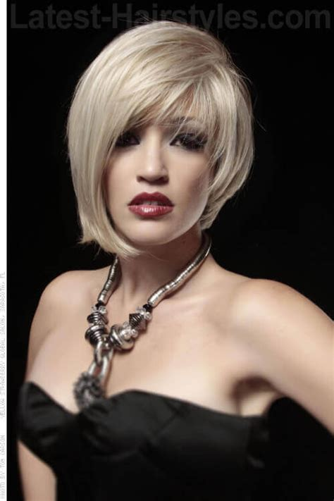 asymmetric fine hair bob hairstyle over 40 for round face for 2015 52 stylish and sexy short hairstyles for women over 40