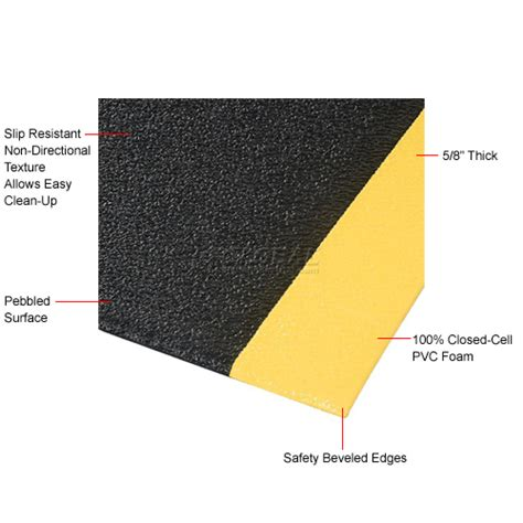 thick and wide mats pebble 5 8inch thick black yellow mat 2 foot wide