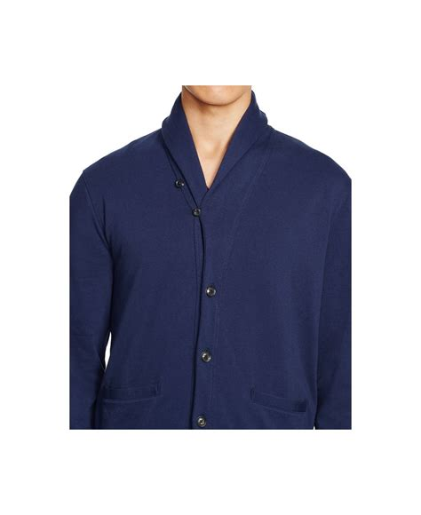 Pashmina Polos polo ralph fleece shawl cardigan in blue for lyst