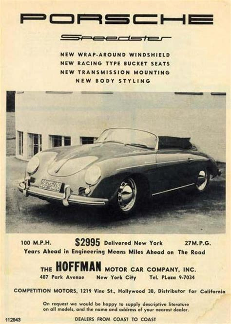 max hoffman porsche ad from the 50 s vintage car