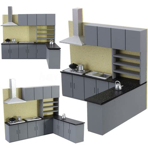 dollhouse kitchen cabinets miniature kitchen cabinet set model kit furniture for