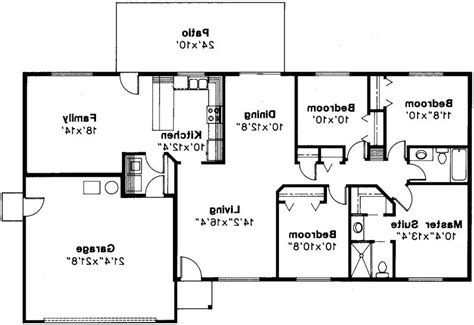 rectangular bungalow floor plans rectangle house plans one story rectangular house plans