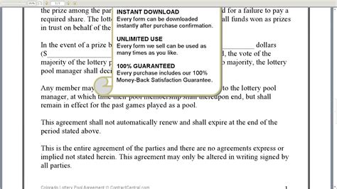Agreement Letter For Lottery Pool Lottery Pool Contract Free Printable Documents