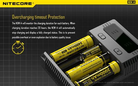 Baterai Nitecore Battery Charger 4 Slot New I4 nitecore intellicharger universal battery charger 4 slot for li ion and nimh new i4 black