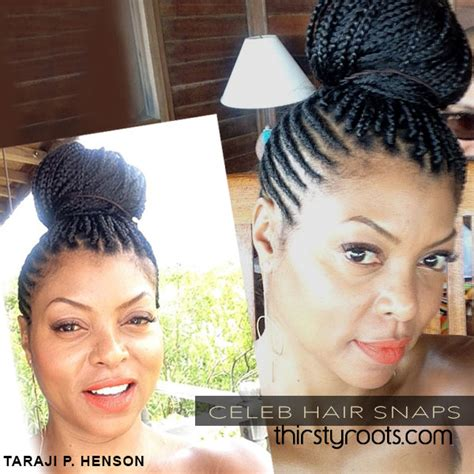 scalp braids in a high bun taraji p henson side cornrows and braids in a bun