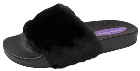 sandals slippers womens diamante fur sliders fluffy mules slippers flip