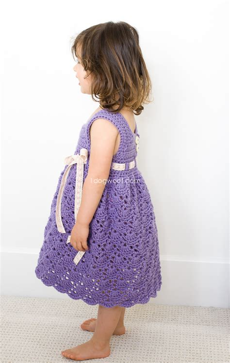 pattern dress toddler crochet purple princess dress one dog woof