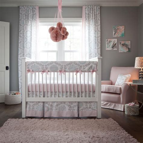pink and grey nursery bedding pink and gray rosa crib rail cover carousel designs