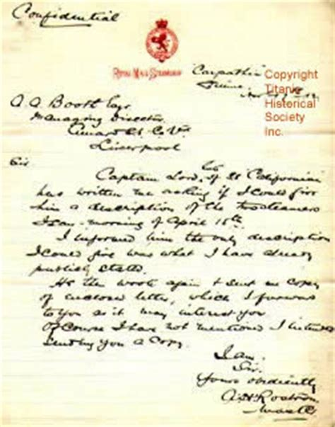 Letter Artifact Titanic Historical Society Featured Collection