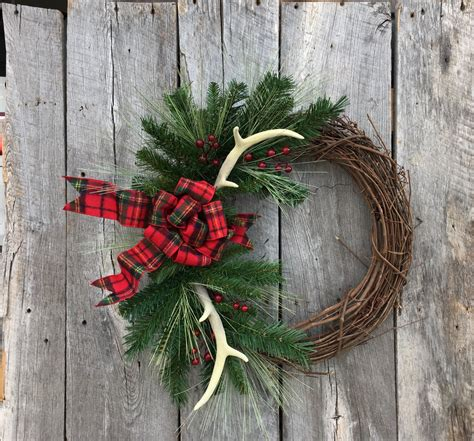 Decorative Fall Pillows - antler wreath rustic wreath christmas wreath with antlers