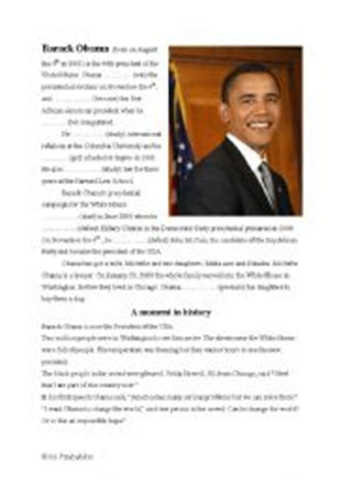 barack obama biography for students english teaching worksheets obama
