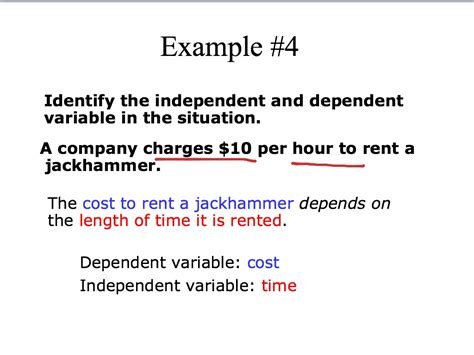 exle of dependent variable identify independent dependent variable math