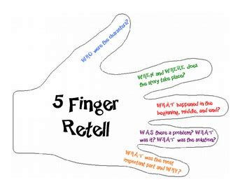 5 finger retell by reta legard teachers pay teachers
