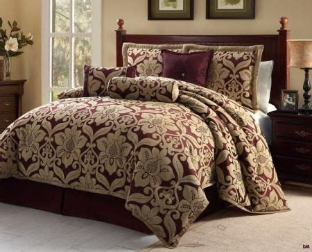 burgundy and gold bedroom 7 pc queen galloway burgundy gold jacquard floral print