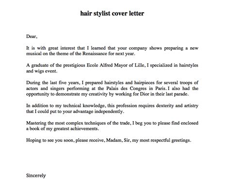 cover letter hair stylist hair stylist cover letter sle resumes design